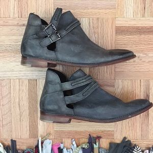 Free People distressed leather booties!